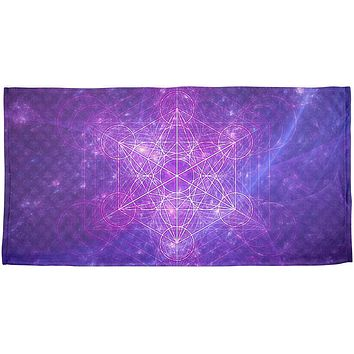 Sacred Geometry Metatron Cube Map of Creation All Over Beach Towel