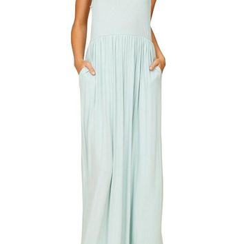 Tank Maxi Dress with Shirring and Pockets