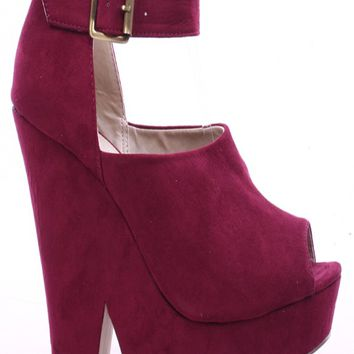 WINE SUEDE ROUND OPEN PEEP TOE WEDGE