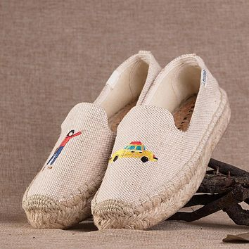 Soludos Taxi Platform Smoking Embroidery Slipper Thick-bottomed Beige