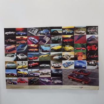 Signed Chevrolet Corvette 50th Anniversary Auto Photo Poster Double Sided 2002