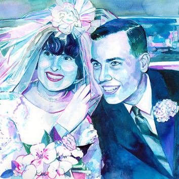 WATERCOLOR couple PORTRAIT - SPECIAL gift for a 50th or 25th wedding anniversary - Painted from old photo