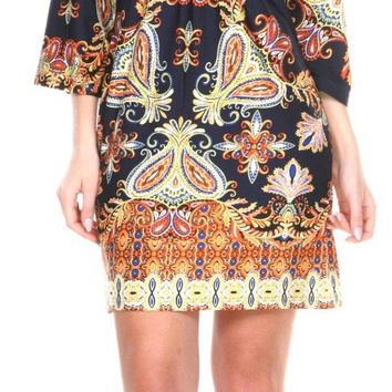 Madelyn Print Dress in Navy Gold Short Shift V Neck 3/4 Sleeves