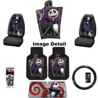 Nightmare Before Christmas Jack Skellington Graveyard Zombie NBC Auto Car Truck SUV Accessories Interior Combo Kit Gift Set - 7PC