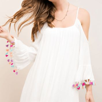 White Bell Sleeve Dress with Pom Pom Tassels