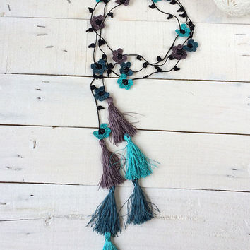 Tassel Necklace, Boho Wrap Necklace, Blue Fringed Necklace, Turquoise Jewelry, Crochet Necklace, Oya Beaded Lariat, Crochet Jewelry