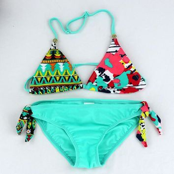 Girls Bikini Set Bottom 2018 Kids Two Pieces Swimwear Swimsuit Lovely Children's Biquini Bathing Suit For Beach Wear