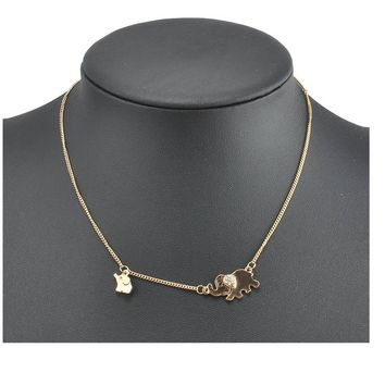 Crystal Double Elephant Chain Pendant Necklaces