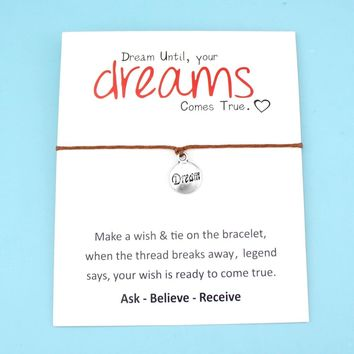 Dream Stars Best Friends Heart Thank You Mom Mum Silver Charm Wish Card Bracelets Women Men Handmade Fashion Jewelry Gift
