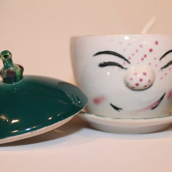 Vintage Tea cup  teacup with lid and spoon Character cup Asian japan art set