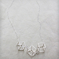 Triple Cube Long Necklace