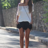 White Lace Patchowork Short-Sleeved T-Shirt