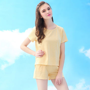 Plus Size Set Summer Cotton Short Sleeve Sleepwear [9093727114]