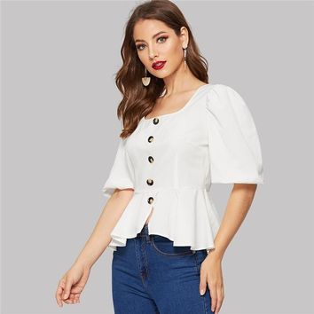 Elegant White Puff Sleeve Button Front Peplum Slim Blouse Women Square Neck Office Lady Vintage Top Blouses