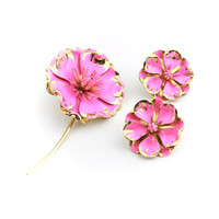 Pink Brass Flower Brooch Earring Set Demi Parure