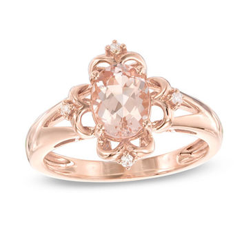 Oval Morganite and Diamond Accent Vintage-Style Scroll Frame Ring in 10K Rose Gold - Size 7