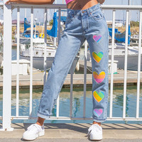 Vintage 90s Lee Denim Light Stonewash Blue Pastel Rainbow Heart Pink Pearl White Metallic Shiny Textured 3-D Paint High Waist Mom Jeans S 3