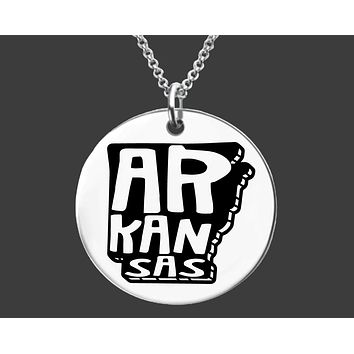 Arkansas State Necklace   Personalized State Necklace