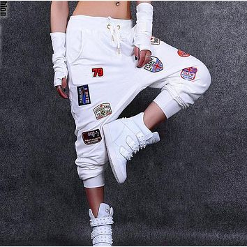 #1102 2017 Fashion sweatpants Women joggers Loose Drop crotch pants Harem pants Hip hop pants women White/Black Sarouel femme