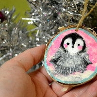 Penguin and Fish Hand painted Birch Ornament Holiday