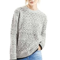 Women's Topshop Check Crewneck Sweater,