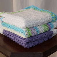 Extra Large Cotton Washcloths-set of 3-white, purple and blue, green, purple and white