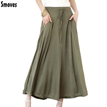 Smoves Women Pocket Long Maxi Skirt Pleated Modal Cotton Casual Ladies Drawstring Skirts New 2017 Free Shipping SK82