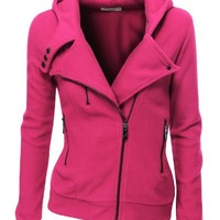 Doublju Women's Fleece Zip-Up High Neck Jacket,PWD005_Pink,Small