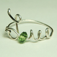 love wire ring sterling silver   green faceted crystal by keoops8