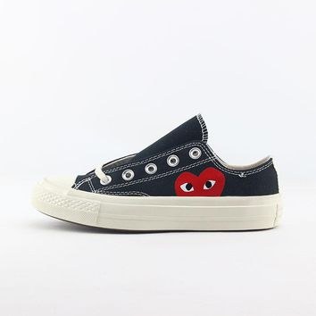 CDG Play x Converse Chuck Taylor 1970s Low Top Black Canvas Sneakers - Best Deal Online
