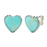 925 Sterling Silver Turquoise Heart Earrings Gemstone Studs 11mm