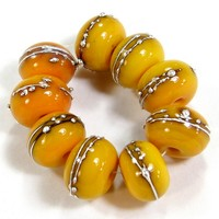 Glossy Medium Lemon Yellow Lampwork Glass Beads Silver 408gfs Glossy Medium Lemon Yellow Fine Silver Shiny Opaque Glass Beads - Lemon Yellow Glass Handmade Lampwork Beads Wrapped In Fine Silver by Covergirlbeads Texas Glass Artist, Charlotte Hayes [] - $3.