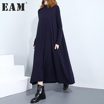 [EAM] 2017 New Autumn Winter High Collar Long Sleeve Solid Color Black Dark Blue Loose Knitting Loose Dress Women Fashion JC025
