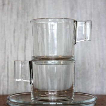 vintage art deco espresso cups & saucers // made in italy // clear glass // 4 pcs