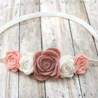 Pink & White Felt Rose Flower Crown Headband, Flower Halo, Felt Headband, Rose Headband, Flower Headband