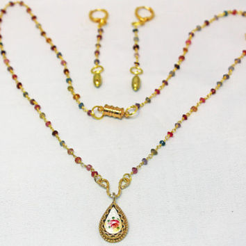 Guilloché Pendant Necklace, Vintage Rose Pendant, Multicolor Semi Precious Bead Necklace, Plated Gold Ensemble,Gift, Matching Earrings.