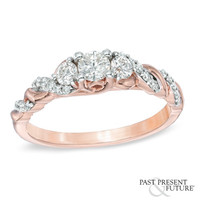 1/2 CT. T.W. Diamond Past Present Future® Twist Engagement Ring in 14K Rose Gold - View All Rings - Zales