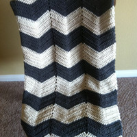 Charcoal gray and off white crochet adult size chevron afghan/blanket