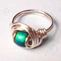 Mood Bead Ring Sterling Silver Wire Wrapped Ring