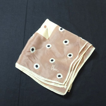 1970s Vintage Vera Neumann Silk Scarf in Tan & Ivory with Black Dots, 28 x 28.5 Inches, Hand Rolled Edges, Vintage Silk Scarf, Fashion Scarf