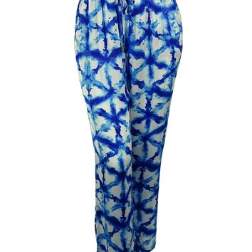 Michael Kors Women's Tie-Dye Elastic Waist Wide Leg Pants (2X, Royal)