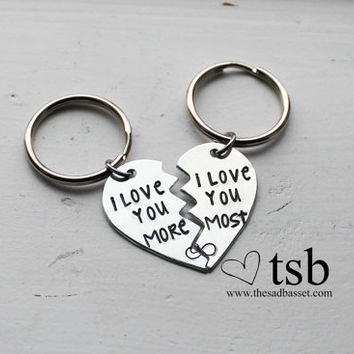 I Love You More I Love You Most Handstamped Couples Keychain Set - Broken Heart Keychain, Love Gift, Couples Keychain Set, Handstamped Gift