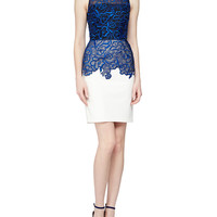 Women's Sleeveless Floral Organza Cocktail Dress, Cobalt