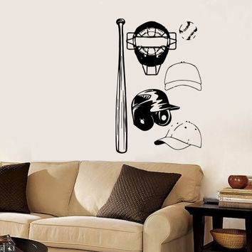 Vinyl Decal Sport Emblem Logo Baseball Helmet  Mask Cap And Crossed Home Wall Decor Stylish Sticker Mural Design Children Kids Room V633