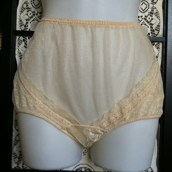 Vintage Sheer Gold High Waist Brief Panties Sexy Lacy Granny Panty M 6 Touche Nylon