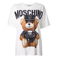 """Hot Sale Moschino """"Leather Clothing Bear"""" Fashion Women T Shirt Loose Short Sleeves"""
