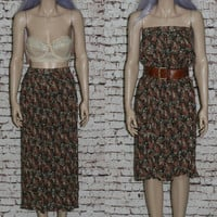 90s Crinkle Skirt Midi Dress Floral Inida Sheer Black Gypsy Prairie 70s Grunge Boho Hipster Witchy Witch 80s High waist Pastel XS S