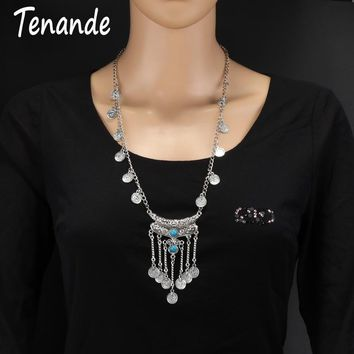 Tenande Punk Big Statement Natural Stone Beads Coin Chain Tassel Necklaces & Pendants for Women Silver Color Tribal Jewelry Gift