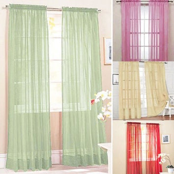 Glass Yarn Sheer Window Valance Curtain Pure Color Bedroom Home Wedding Decor
