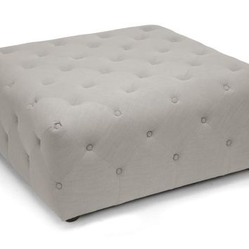 Baxton Studio Teague Beige Linen Modern Tufted Ottoman Set of 1